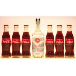 Butterbird Weissling Rum in der 0,50 Ltr. Flasche und 6 Flaschen Coca-Cola in der 0,20 Ltr. Glasflasche
